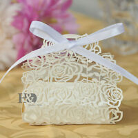 New Ivory Laser Cut Rose Candy Boxes & Romantic Ribbon Wedding Party Favor Box