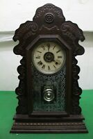 Antique Ansonia 8 Day Striking Ginger Bread Alarm Mantel Clock, Running