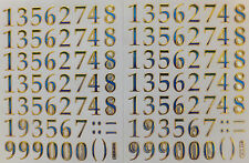 NUMBER STICKERS x2 sheets, metallic *blue/green/gold*