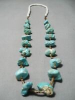 ASTONISHING VINTAGE NAVAJO TURQUOISE NUGGET HEISHI NATIVE AMERICAN NECKLACE OLD