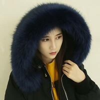 Winter Women Faux Fur Collar For Winter Coat Down Jacket Hood Scarf Shawl Wrap