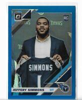 2019 Donruss Optic Football Blue Refractor Rookie RC #108 Jeffrey Simmons /150