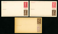 US Lot of 3 Early Mint Post Card Stamps