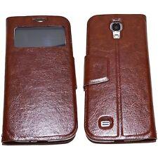 Samsung Galaxy S4 Cover braun Hülle S-View Stand Handy Case Schutz Tasche