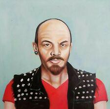 Vladimir Lenin Portrait OLIO SU TELA QUADRI MIS. circa 33x33 cm