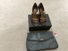 Tahari Brown Leather Open Toe Shoes Sz 7.5 Plus New Grayish Color Clutch Purse