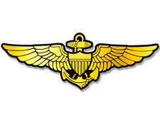 3x6 inch GOLD Navy Aviator Wings Sticker -naval aviation pilot military fly logo