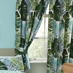 Tropical Palms Curtains 72in Drop Fully Lined with Tie Backs Leaves Cheese Plant