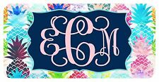 Personalized Monogrammed License Plate Car Tag Floral Aqua Pineapple Vine Font