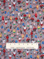 Sports Fabric - Track Runner Running Gray - Timeless Treasures YARD