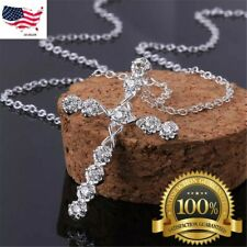 """Women's 925 Sterling Silver Cubic CZ Crystal Cross Pendant Necklace 18"""" N4"""