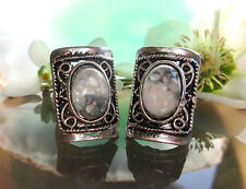 Ring Vintage Style Shell White Blue Grey Pearl Tibet Silver Form Rectangular