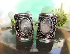 Ring Vintage Stil Muschel weiß u blau grau Perlmutt Tibet Silber Form rechteckig