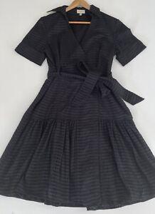 KAREN MILLEN short Sleeve Collared Wrap Shirt Dress Broderie Size AU 14 12