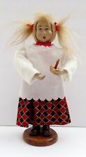 """Vintage Hard Plastic 8"""" Doll Figurine On Wood Base"""