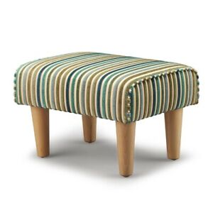 Biagi Upholstery & Design Teal Green Striped Luxury Chenille Footstool