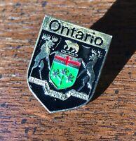 Souvenir Lapel PIN Badge: Ontario Canada Coat of Arms crest - metal base