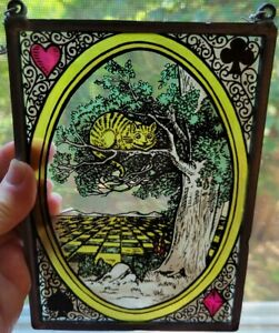 """Glass Masters Glassmasters Suncatcher Cat in a Tree 5"""" x 7"""" Stained Glass"""