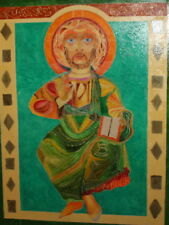 Abstract oil painting religious portrait signed