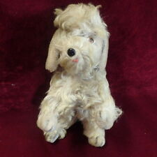 """MOHAIR POODLE Standing Jointed head Glass Eyes and nose 10"""" long vintage 1950s"""