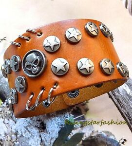 Men Cool ALIEN Metal Star Highlight Character Fashion Leather Bracelet Wristband