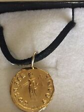 """Aureus Of Vespasian Coin WC16 Gold  Made From Pewter On 18"""" Black Cord Necklace"""