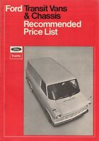 Ford Transit Mk1 Prices & Optional Extras 1970-71 UK Market Brochure Van Chassis