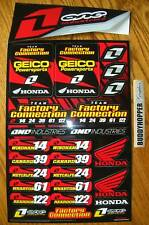 retro FACTORY CONNECTION GEICO HONDA DECAL SHEET CR CRF XR  50% OFF SALE!