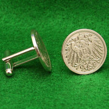 German Empire Imperial Eagle Coin Cufflinks, 10 Pfennig Germany Reichsadler