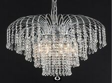 "Palace Lexington 21"" 6 light Crystal Chandelier Light Chrome ceiling Light"