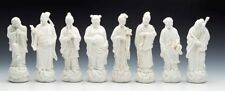 More details for vintage chinese set eight blanc de chine daoist immortal figures 20th c.