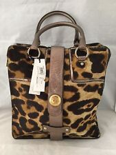 NWT Versace Collection LBF0091 Leather & Haircalf Leopard Handbag Purse $2,395