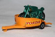 MATCHBOX SUPERFAST #38 HONDA MOTORCYCLE & TRAILER, ORANGE TRAILER, GREEN CYCLE