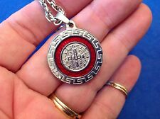 St BENEDICT Protection NECKLACE Pendant Saint Medal Stainless Red Enamel 30""