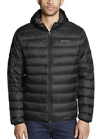 Eddie Bauer Men's Cirruslite Hooded Down Jacket (Black, M)