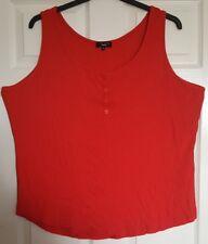New Look Sz 26 Red Scoop Neck Sleeveless Ribbed Cotton Dip Hem Long Vest Top
