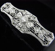 c1920s Art Deco 1.8ct Old European &Mine Cut Diamond Platinum Brooch Pin Antique
