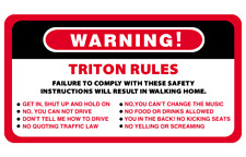 Warning Rules Triton Series 4WD 4x4 Vehicles Decal Stickers