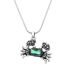 "Crab Charm Pendant Necklace - Abalone Paua Shell - Sparkling Crystal - 17"" Chain"