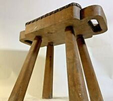 New listing Antique Handmade Primitive Carved Two Handle Wood Milking Stool