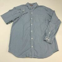 Duluth Button Up Shirt Men's Large Long Sleeve Blue White Striped Casual Cotton