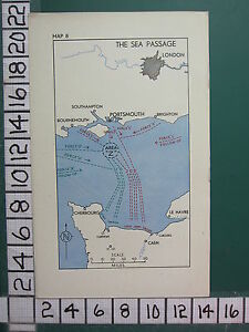 WW2 MAP ~ THE SEA PASSAGE LONDON LE HAVRE ~ AREA Z FORCE B FOLLOW UP FORCE S