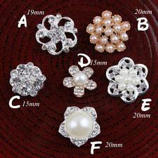 30p Vintage Handmade Decorative Rhinestone Buttons+Crystal Pearls Craft Supplies