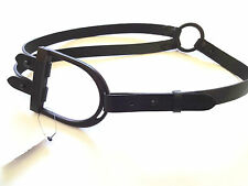 New Ralph Lauren Collection Italy Wide Black Leather Equestrian Style Belt sz M