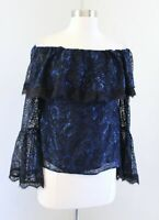 NWT White House Black Market Blue Lace Off the Shoulder Bell Sleeve Top Blouse 6