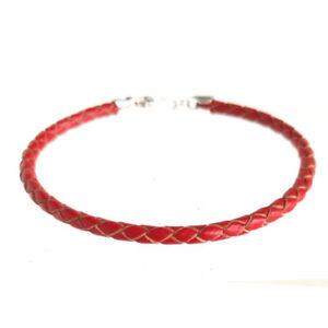 """3mm Braided Leather Bracelet Sterling Silver Clasp 6"""" 7"""" 8"""" 9"""" for men women"""