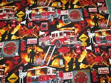 FIRE DEPT  VEHICLE IN MOTION by TIMELESS TREASURES  100% COTTON  BLACK 1/2 YD
