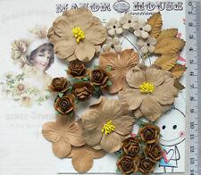 DESERT SAND, COPPER & BROWN 21 Flowers Petals 5 Tones 4 Styles PAPER 15-45mm VB4