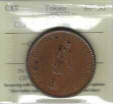 LOWER CANADA 1837 City Bank Penny Token Breton 521 LC-9A3 ICCS AU50 Inv 3447
