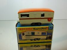 MATCHBOX SUPERFAST 57 TRAILER CARAVAN - CREAM + ORANGE - VERY GOOD IN BOX
